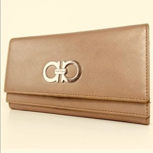 Salvatore Ferragamo Mancini Long Leather Wallet
